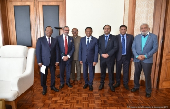 Call on H.E. Mr.Hery Rajaonarimampianina, President of Madagascar by Escorts Agrimachinery delegation on 26 July 2017.