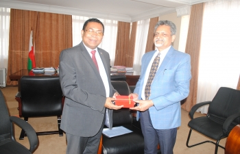 Call on by Dr.O.P.Chaudhary, Joint Secretary (NLM), DAHD&F – co-chair of Indian side for the First Joint Agriculture Working Group(JAWG) on Minister of Agriculture H.E. Mr. E.RANDRIARIMANANA Harison