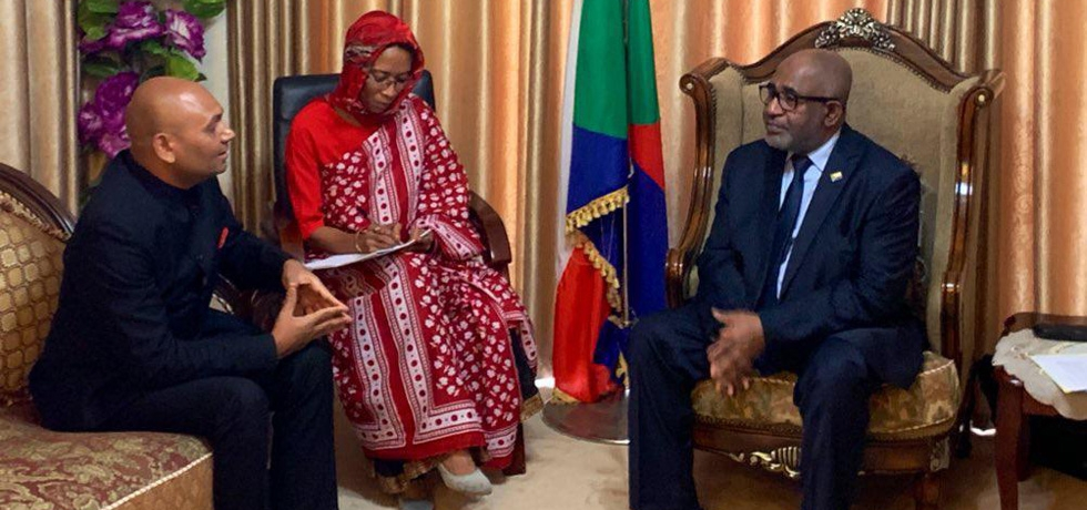 Presentation of credentials by Ambassador of India Abhay Kumar   to HE Azali Assoumani, President of the Union of Comoros
