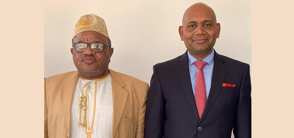 Ambassador Abhay Kumar with Foreign Minister of Comoros, HEM. Mohamed El-Amine Souef