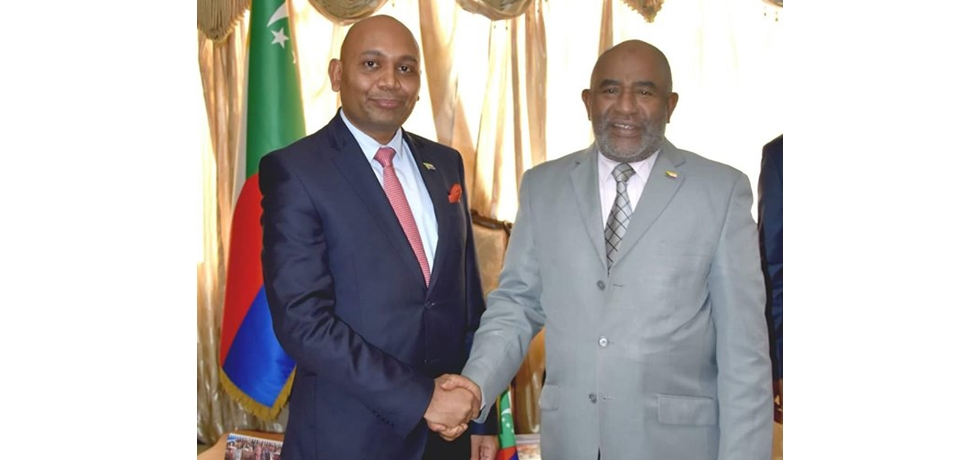 Meeting of Ambassador Abhay Kumar with the President of Comoros, HEM. Azali Assoumani