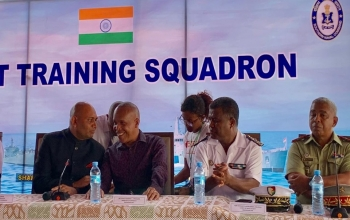 Press conference conducted onboard Indian Naval ship