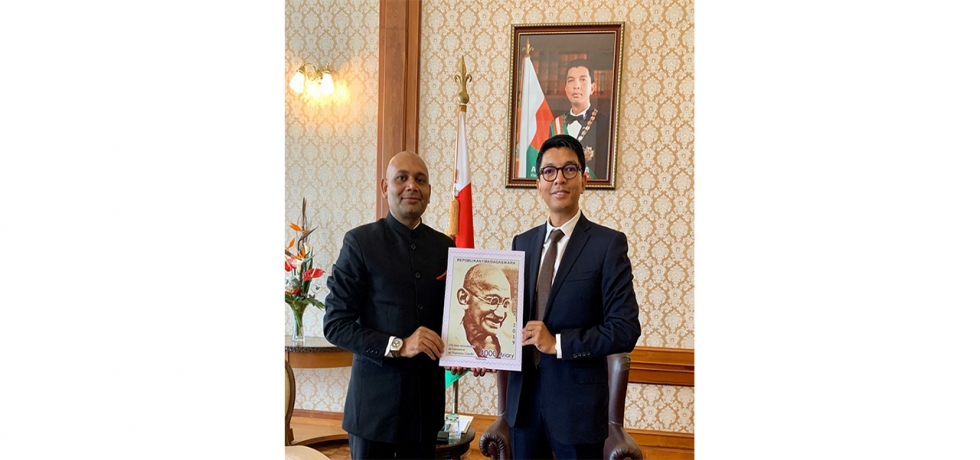 Unveiling of postage stamp of Mahatma Gandhi by the Hon'ble President of Madagascar H.E Andry Rajoelina as a part of the celebrations of 150th Birth anniversary of Mahatma Gandhi. March 2020.