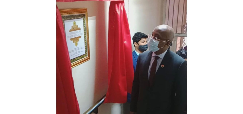 Inauguration of the Ambassadors'Portrait Gallery by the hon'ble Foreign Minister of Madagascar TEHINDRAZANARIVELO DJACOBA A.S OLIVA on 17 September 2020.