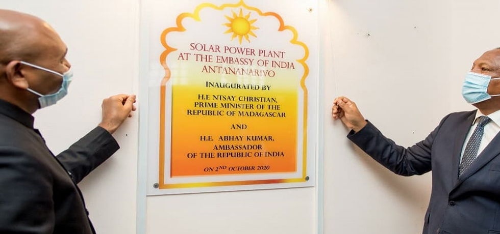Inauguration of the solar power plant at the Embassy by the Hon'ble Prime Minister of Madagascar H.E. Christian Ntsay and Hon'ble Ambassador of India H.E. Abhay Kumar
