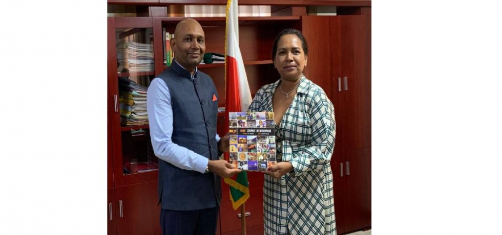 Ambassdor Abhay Kumar met H.E. Lantosoa Rakotomalala, Hon'ble Minister of Trade and Industry of Madagascar to discuss ways to enhance trade and economic cooperation between India and Madagascar.