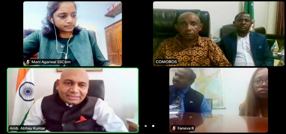 Ambassador Abhay Kumar had a video conference with H.E. Mr. Said Maoulana Mohamed, Secretary General of the Ministry of Foreign Affairs of the Union of Comoros. They reviewed the progress in the bilateral relations between the two countries.