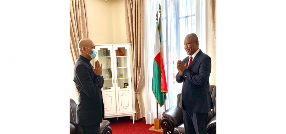 Ambassador Abhay Kumar called on H.E. Christian Ntsay, Hon'ble Prime Minister of Madagascar. They reviewed the progress in bilateral ties between India and Madagascar and discussed ways to further strengthen them.