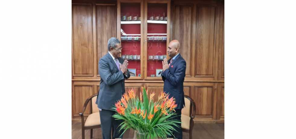 Ambassador Abhay Kumar met H.E. Mr. Henri Edmond RABARIJOHN, Hon'ble Governor of the Central Bank of Madagascar. They discussed issues of mutual interest.