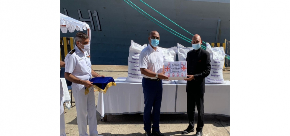 Ambassador Abhay Kumar handed over 1000 tonnes of rice and 100,000 HCQ tablets on behalf of the Govt of India to H. E. Christian Ntsay, Hon'ble Prime Minister of Madagascar, brought onboard Indian Navy  Ship Jalashwa  to deal with the drought situation in south Madagascar
