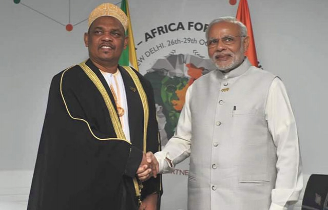 HE Dr. Ikililou Dhoinine , President of the Union of Comoros and the Prime Minister of India