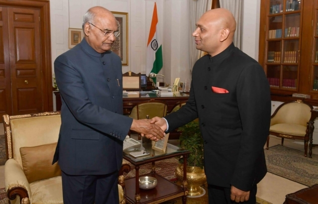 Shri Abhay Kumar called on the Hon'ble President of India Shri Ram Nath Kovin before taking charge as 21st Ambassador of India