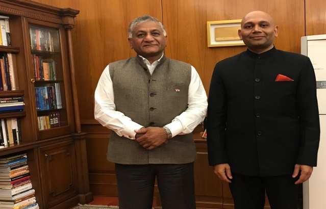 Abhay Kumar, Ambassador Designate of India to Madagascar met Minister of State of External Affairs Shri V.K. Singh today