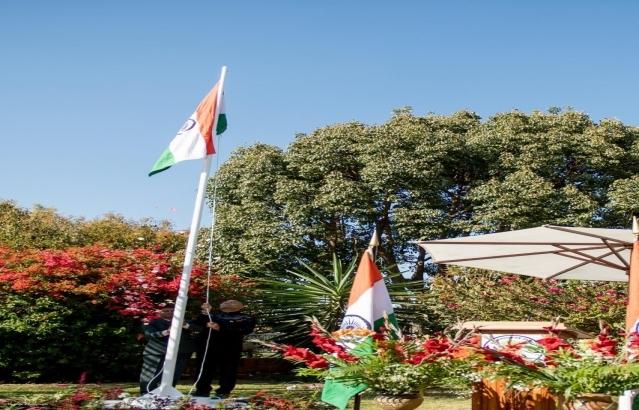 Flag hoisting ceremony, at Embassy Residence