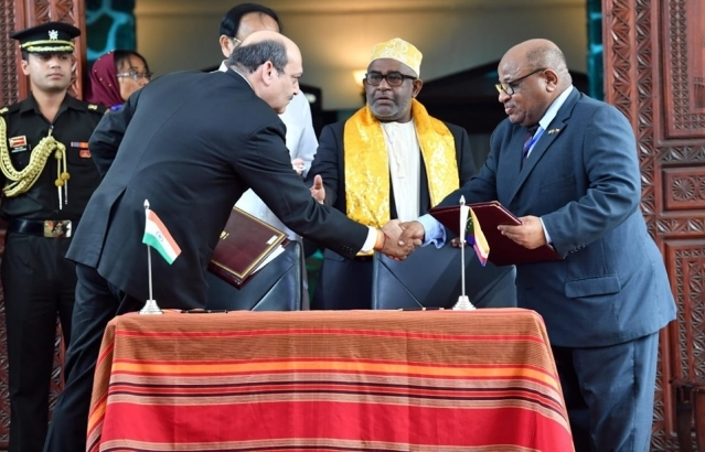 Signaturre of agreements between India and Comoros, 11th October 2019